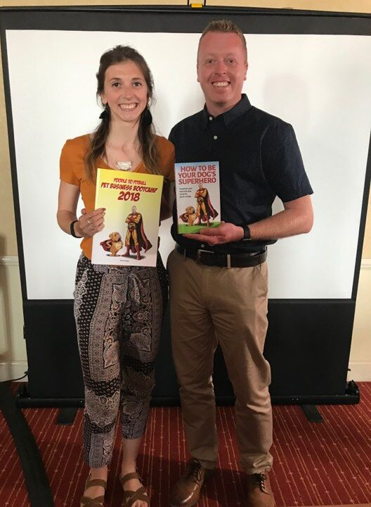 Me presenting a signed copy of my book to Bootcamp attendee, Emma Chadwick of dogs and jogs